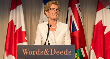 Kathleen Wynne announcing her trade mission to Israel at Israel lobby event on June 22, 2015.
