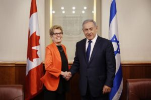 Ontario Premier Kathleen Wynne has maintained strong relations with the widely reviled government of Israeli Prime Minister Benjamin Netanyahu.